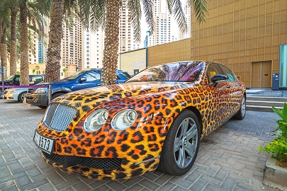 Ein Bentley in Dubai im Panther Look
